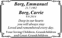 Borg, Emmanuel 21.7.1982 Borg, Carrie 9.9.2014