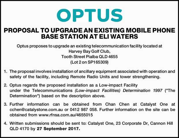 PROPOSAL TO UPGRADE AN EXISTING MOBILE PHONE BASE STATION AT ELI WATERS Optus proposes to upgrade...