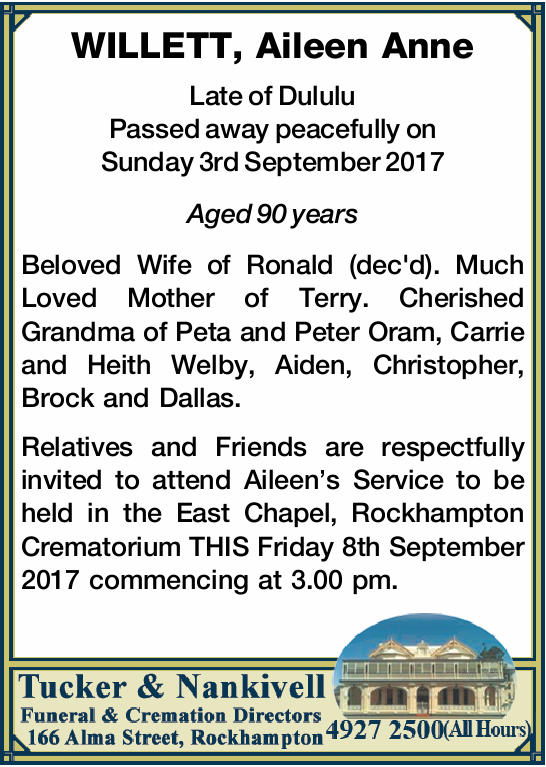 WILLETT, Aileen Anne 