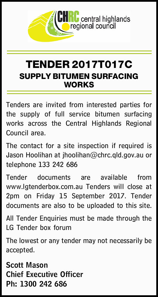 TENDER 2017T017C SUPPLY BITUMEN SURFACING WORKS