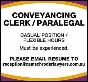 CONVEYANCING CLERK / PARALEGAL