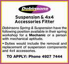Suspension & 4x4 Accessories Fitter