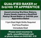 QUALIFIED BAKER or 3rd/4th YR APPRENTICE