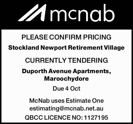 PLEASE CONFIRM PRICING Stockland Newport Retirement Village CURRENTLY TENDERING Duporth Avenue Ap...