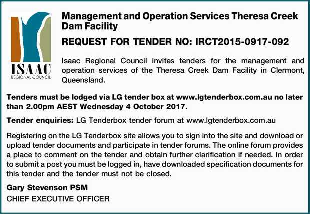 REQUEST FOR TENDER NO: IRCT2015-0917-092 Isaac Regional Council invites tenders for the managemen...