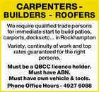 CARPENTERS - BUILDERS - ROOFERS