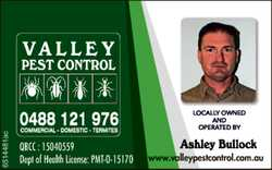 VALLEY PEST CONTROL 0488 121 976 Commercial - Domestic - Termites Localy owned and operated Ashle...
