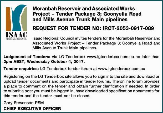 REQUEST FOR TENDER NO: IRCT-2053-0917-089 Isaac Regional Council invites tenders for the Moranbah...