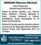 MANGAN Maurice Michael