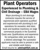 Plant Operators – Experienced In Plumbing & Civil Drainage