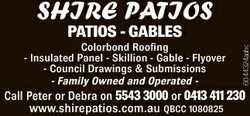 SHIRE PATIOS Colorbond Roofing - Insulated Panel - Skillion - Gable - Flyover - Council Drawings &am...