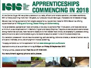 APPRENTICESHIPS COMMENCING IN 2018 At Isis Central Sugar Mill we pride ourselves on our safe, efficient and reliable operation, and stable workforce. With a history spanning more than 120 years, our products include raw sugar, molasses and renewable energy. We are now inviting applications from eligible people for our apprentice ...