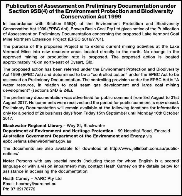 In accordance with Section 95B(4) of the Environment Protection and Biodiversity Conservati...