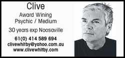 Clive Award Wining Psychic / Medium   30 years exp Noosaville 61(0)414589694   clivewhitb...