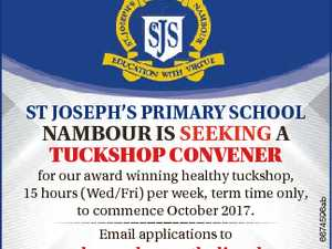 St JoSeph'S primary School for our award winning healthy tuckshop, 15 hours (Wed/Fri) per week, term time only, to commence October 2017. Email applications to pnambour@bne.catholic.edu.au Closing date: COB Friday, 15 September 2017. 6674596ab Nambour iS SeekiNg a Tuckshop convener