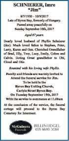 """SCHNIERER, Imre """"Jim"""" 8/7/1930 - 10/9/2017 Late of Byron Bay, formerly of Hungary. Passed away peacefully on Sunday September 10th, 2017 Aged 87 years. Dearly loved husband of Phyllis Schnierer (dec). Much loved father to Stephan, Peter, Larry, Karen and Gen. Cherished Grandfather of Brad, Elly, Troy ..."""