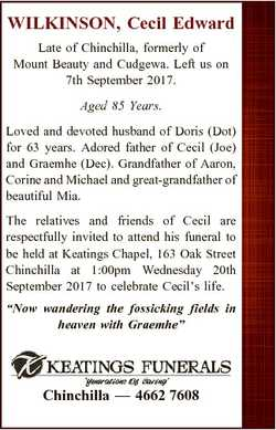 WILKINSON, Cecil Edward Late of Chinchilla, formerly of Mount Beauty and Cudgewa. Left us on 7th Sep...