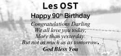 Les OST Happy 90th Birthday Congratulations Darling We all love you today, More than yesterday. B...