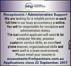 6675077aa Receptionist / Administration Su upport We are looking for a reliable person tto work full...