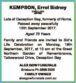 """KEMPSON, Errol Sidney """"Sid"""" Late of Deception Bay, formerly of Roma. Passed away peacefull..."""