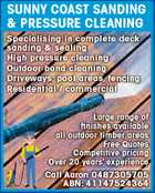 SUNNY COAST DECK SANDING & PRESSURE CLEANING