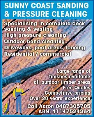 Specialising in complete deck sanding & sealing High pressure cleaning Outdoor bond clean...