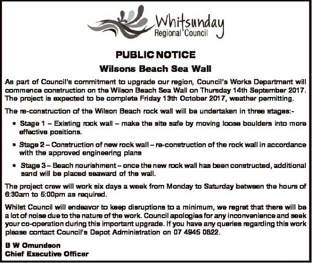 PUBLIC NOTICE   Wilsons Beach Sea Wall   As part of Council's commitment to upgrade o...
