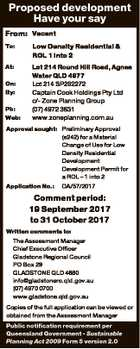 Proposed development Have your say From: Vacant To: Low Density Residential & ROL 1 into 2 At: Lot 214 Round Hill Road, Agnes Water QLD 4677 Lot 214 SP262272 Captain Cook Holdings Pty Ltd c/- Zone Planning Group (07) 4972 3831 www.zoneplanning.com.au On: By: Ph: Web: Approval sought ...