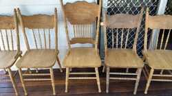 5  BEECHWOOD CHAIRS NEEDING TLC $150 2  DARK WOOD STOOLS GREEN SEATS $30