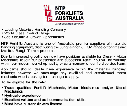 Leading Materials Handling Company World Class Product Range Job Security & Growth Opportunit...