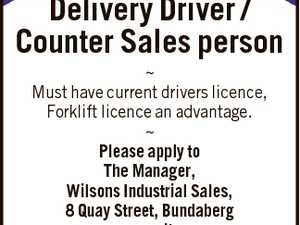 Delivery Driver / Counter Sales person  Must have current drivers licence, Forklift licence an advantage.  Please apply to The Manager, Wilsons Industrial Sales, 8 Quay Street, Bundaberg or email : manager@wilsonsindustrialsales.com.au