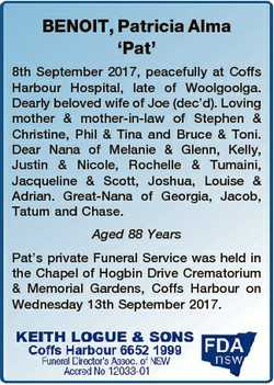 BENOIT, Patricia Alma `Pat' 8th September 2017, peacefully at Coffs Harbour Hospital, late of Wo...