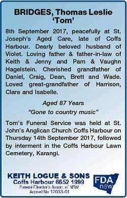 BRIDGES, Thomas Leslie `Tom' 8th September 2017, peacefully at St. Joseph's Aged Care, late...