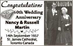 Congratulations 6679273aa 60th Wedding Anniversary Nancy & Russell N Martin 14th September 1957...