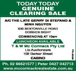 TODAY TODAY GENUINE CLEARING SALE A/C The LATe GerrY Di STefAnO & Minh nGuYen 630 Sextonville...