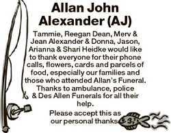 Allan John Alexander (AJ) Tammie, Reegan Dean, Merv & Jean Alexander & Donna, Jason, Arianna...