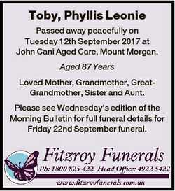 Toby, Phyllis Leonie Passed away peacefully on Tuesday 12th September 2017 at John Cani Aged Care, M...