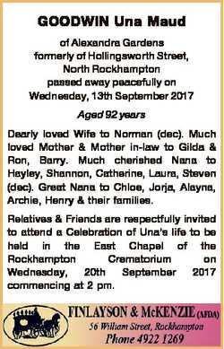 GOODWIN Una Maud of Alexandra Gardens formerly of Hollingsworth Street, North Rockhampton passed awa...