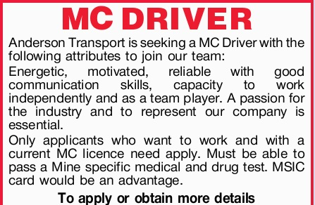 AndersonTransport is seeking a MC Driver with the following attributes to join our team: Energeti...