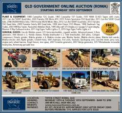 QLD GOVERNMENT ONLINE AUCTION (ROMA) STARTING MONDAY 18TH SEPTEMBER PLANT & EQUIPMENT: 1988 C...