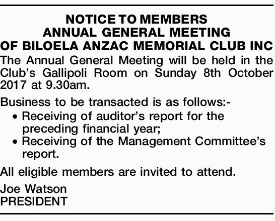 The Annual General Meeting will be held in the Club's Gallipoli Room on Sunday 8th Oc...