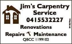 Renovations Maintenance Repairs QBCC 1199102 6419378aa Jim's Carpentry Service 0415532227