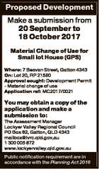Proposed Development Make a submission from 20 September to 18 October 2017 Material Change of Use for Small lot House (GPS) Where: 7 Beavan Street, Gatton 4343 On: Lot 20, RP 21580 Approval sought: Development Permit - Material change of use Application ref: MC2017/0021 You may obtain a copy of ...