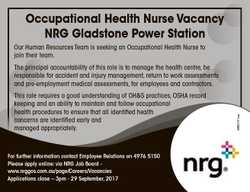 Occupational Health Nurse Vacancy NRG Gladstone Power Station Our Human Resources Team is seeking an...