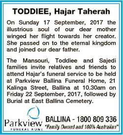 TODDIEE, Hajar Taherah On Sunday 17 September, 2017 the illustrious soul of our dear mother winged h...