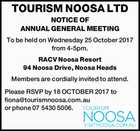 TOURISM NOOSA LTD NOTICE OF ANNUAL GENERAL MEETING