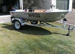 BERMUDA 355 Bass tinny 11 foot 6 inches long 15 hp 4 stroke suzuki and trailer registerd good con...