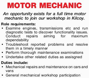 An opportunity exists for a full time motor mechanic to join our workshop in Kilcoy.    Role...