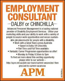 EMPLOYMENT CONSULTANT DALBY or CHINCHILLA 6679698aa Advanced Personnel Management is a leading natio...