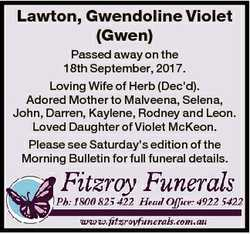 Lawton, Gwendoline Violet (Gwen) Passed away on the 18th September, 2017. Loving Wife of Herb (Dec&#...